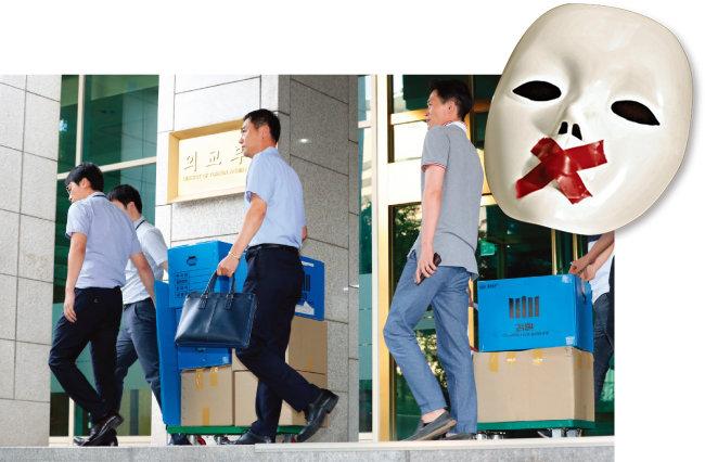 8월 2일 서울중앙지방검찰청 특수1부는 양승태 사법부가 일제 강제동원 피해자들의 소송을 놓고 거래를 시도했다는 의혹과 관련해 외교부를 압수수색했다. [동아일보 전영한 기자, shutterstock]