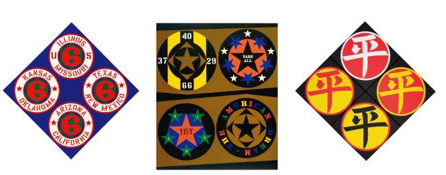로버트 인디애나의 회화 작품들. US 66 (STATE)·2002, THE AMERICAN DREAM· 1961, FOUR DIAMOND PING·2003(왼쪽부터) [ⓒ2018 MORGAN ART FOUNDATION]