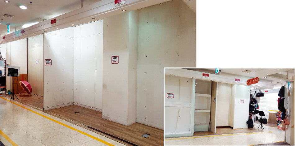 화려한 외양과 달리 서울 동대문 복합쇼핑상가에는 빈 점포가 크게 늘었다. [구자홍 기자]