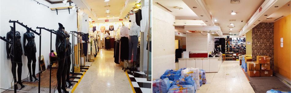 모바일 쇼핑이 활성화되고 유커의 발걸음마저 뜸해지자 동대문 복합쇼핑상가 점포들이 점점 비어가고 있다. [구자홍 기자]