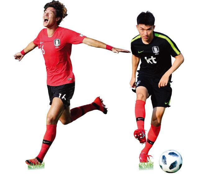 이번 아시아경기 축구에서 총 9골을 넣어 우승의 주역이 된 황의조.(왼쪽) 한국 축구대표팀의 허리 역할을 확실히 해준 황인범. [동아DB]
