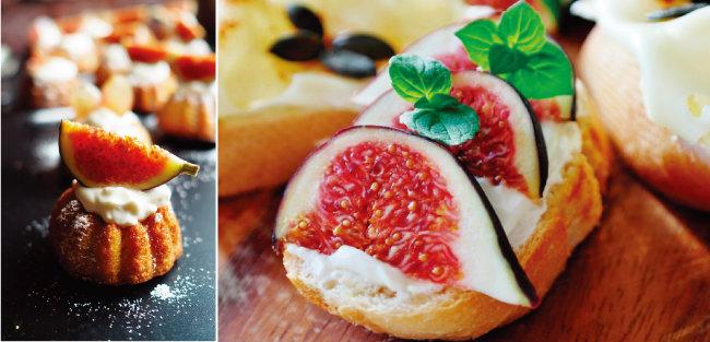 무화과를 곁들인 디저트(위)와 무화과 오픈 샌드위치.