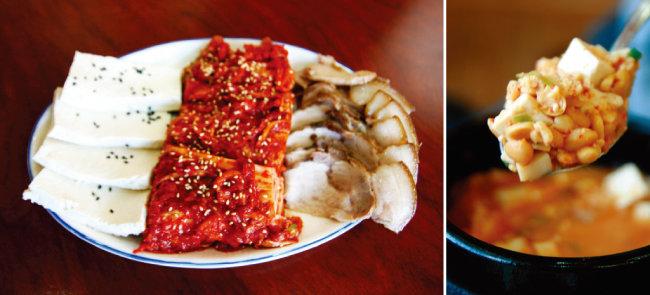 단풍두부, 김치, 제육이 들어간 삼합. (왼쪽) 맛이 깨끗한 청국장.
