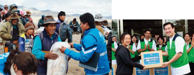 8월 페루 하나님의 교회 신자들은 한파 피해민을 위한 자선연주회를 개최해 모은 기금으로 따뜻한 이불과 겨울 외투를 마련해 한파 피해민들에게 전달했다(왼쪽). 지난 여름 하나님의 교회 일본 신자들은 폭우 피해가 가장 심했던 구라시키 마비쵸 재해대피소를 찾아 피해민들에게 구호품을 전달했다.
