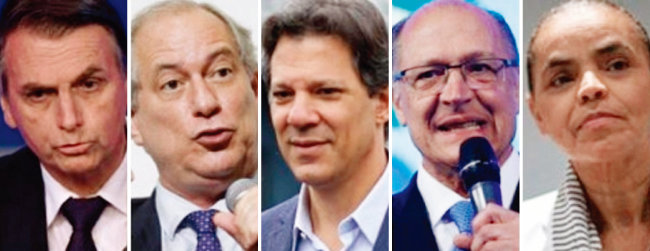 브라질의 주요 대선후보. 왼쪽부터 자이르 보우소나루, 시루 고미스, 페르난두 아다드, 제라우드 아우크민, 마리나 시우바. [사진 제공 · 다타폴랴]