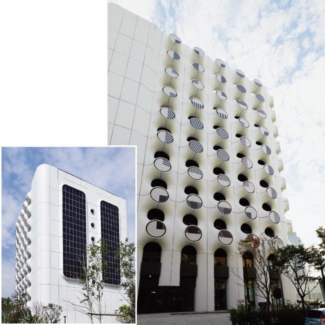 KEB하나은행 삼성기업센터와 강남PB센터, 하나금융투자 Club1 WM센터가 모인 'PLACE 1'의 3개 면은 문어발의 빨판을 연상시키는 독특한 외관으로 눈길을 끈다. 햇볕이 가장 잘 드는 남쪽 면에는 태양광 패널이 설치돼 있다.(왼쪽)