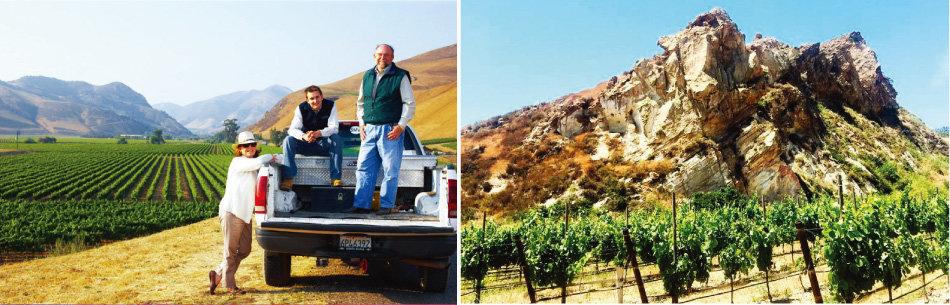 2007년부터 와인 생산을 시작한 밀러 가족. (왼쪽)이판암과 점토 땅에 세워진 비엔 나시도 포도밭. [사진 제공 · ㈜WS통상]