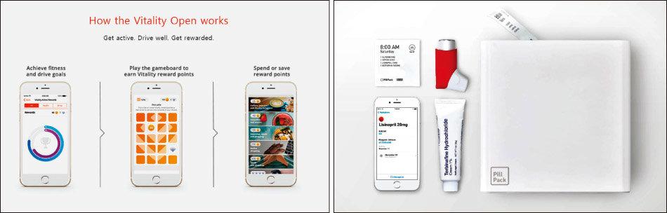 보험사의 헬스케어 시작점으로 불리는 남아프리카공화국 보험사 디스커버리의 '바이탤리티' 프로그램(왼쪽)과 아마존에 인수된 온라인 약국 필팩. [디스커버리 홈페이지, 필팩 홈페이지]