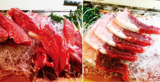 참치 머리에서 발라낸 살은 쇠고기 같다. (왼쪽) 턱 쪽의 가마살은 머리의 쫄깃함과 배 쪽의 고소함을 함께 맛볼 수 있다. [사진 제공·김민경]