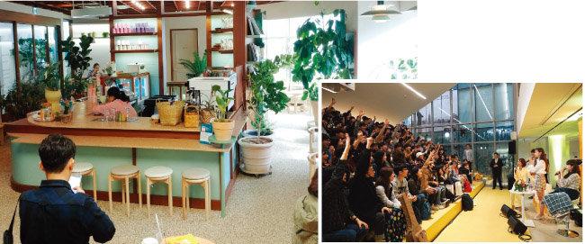 KEB하나은행의 컬처뱅크 3호점으로 '도심 속 자연 아틀리에'를 표방하는 잠실레이크팰리스지점(왼쪽). 서울 마포구 홍대거리에 자리한 KB국민은행의 '청춘마루'에서는 다양한 공연과 강연이 펼쳐진다. [사진 제공 · KB국민은행]