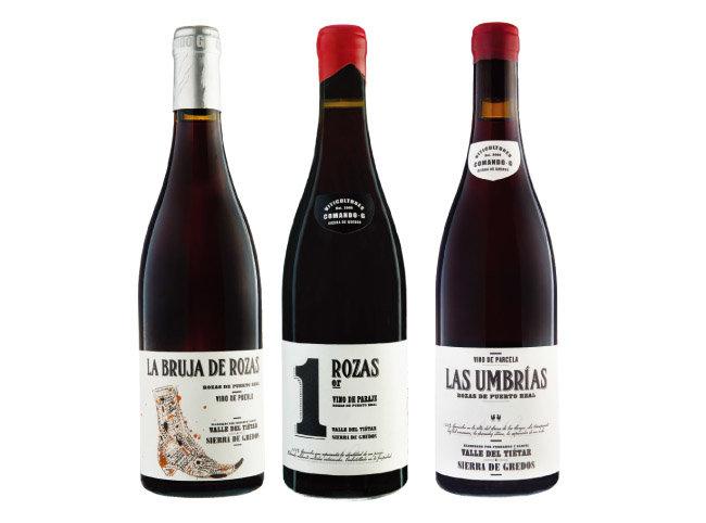 라 브루하 데 로자스 와인. 로자스 프르미에르 와인. 라스 움브리아스 와인. (왼쪽부터) [사진 제공 · 배리와인]