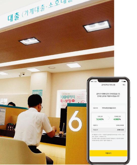 은행 영업점에서 대출 상담을 받고 있는 금융소비자(왼쪽)와 모바일 애플리케이션에서 금리 인하 요구권을 행사할 수 있도록 한 카카오뱅크 앱 화면. [뉴시스, 사진 제공 · 카카오뱅크]