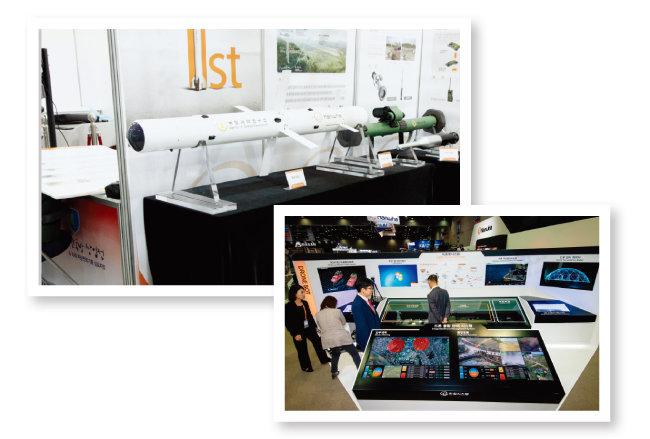 ㈜한화의 소형무장헬기(LAH) 공대지유도탄인 '천검'(위)과 한화시스템의 드론봇시스템. [사진 제공 · ㈜한화]