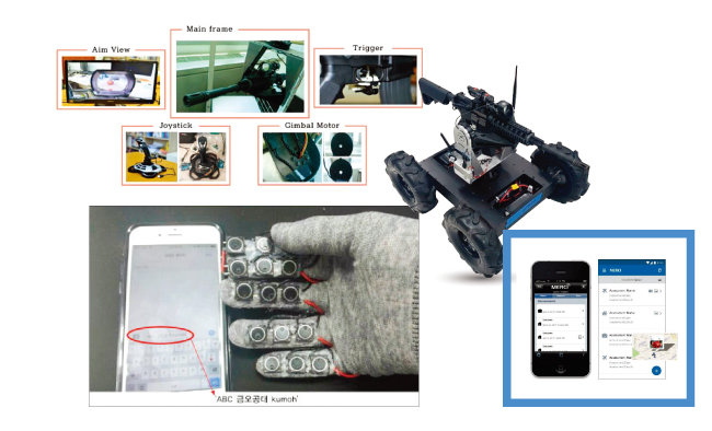 금오공대 ICT융합특성화연구센터가 개발 중인 국방기술들.무선총기제어시스템, 키패드장갑, 재난상황 데이터 수집 애플리케이션 MERCI, 원격 조정 전투로봇. (위에서부터 시계 반대 방향순) [사진 제공 · 금오공대]