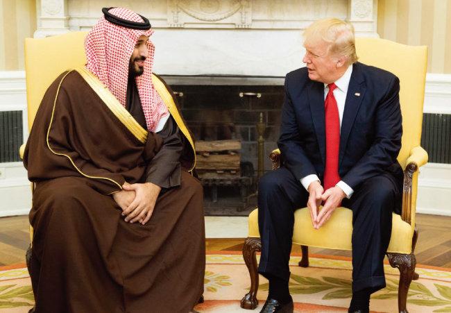도널드 트럼프 미국 대통령(오른쪽)과 무함마드 빈 살만 알사우드 사우디아라비아 왕세자가 대화하고 있다. [미국 백악관 홈페이지]
