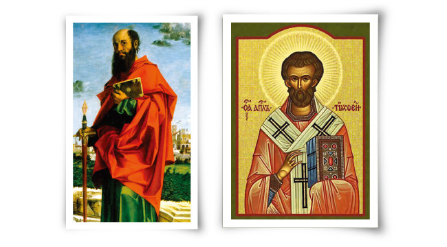 이탈리아 화가 바르톨로메오 몬타냐의 '성 바오로' (1542~1545·왼쪽)와 성 티모테오의 이콘화. [구글아트프로젝트, 위키피디아]