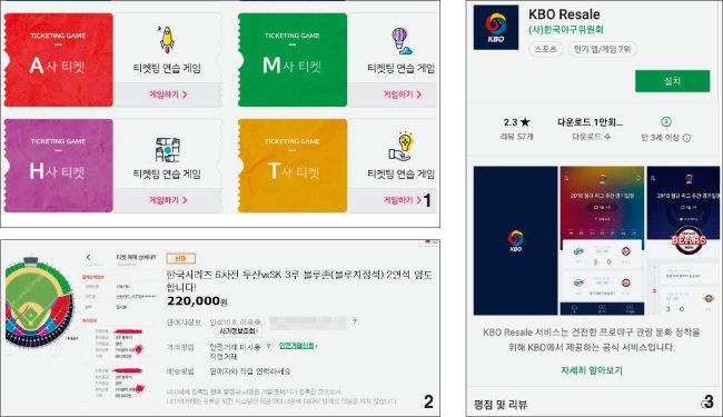 1 암표상을 막기 위해 티켓 예매가 복잡해지자 이를 연습하는 게임도 출시됐다. 2 기자가 구매한 한국시리즈 6차전 암표의 판매 글. 정상가 12만 원인 좌석이 22만 원에 판매되고 있다. 3 KBO 공식 티켓 리세일 앱.