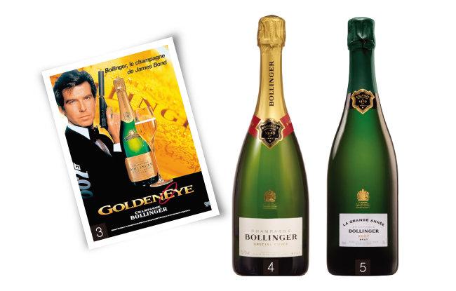 영화 '007 골든 아이' 포스터에 등장한 볼렝저, 볼렝저 스페셜 퀴베, 볼렝저 라 그랑 아네. (왼쪽부터)[사진 제공 · ㈜신동와인]