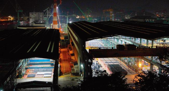 경남 거제 장평동에 자리한 삼성중공업. [박해윤 기자]