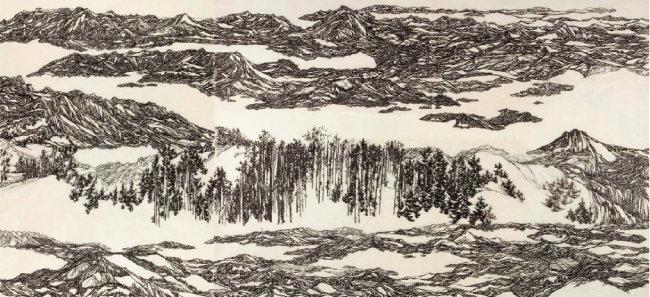 예리한 붓끝으로 그려낸 장대한 백두산