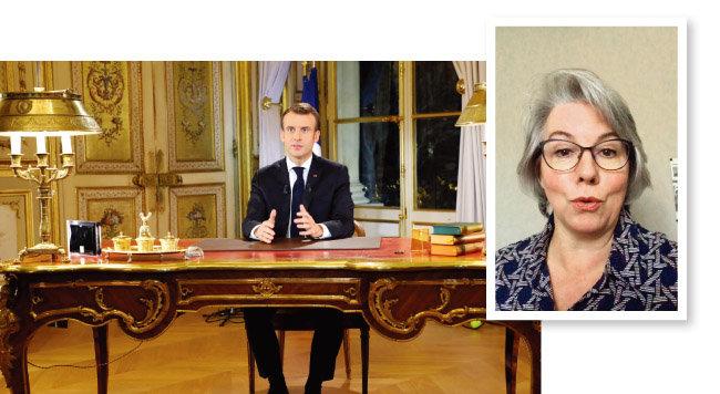 12월 10일 에마뉘엘 마크롱 프랑스 대통령이 노란조끼 시위와 관련해 국민에게 사과하면서 시위대의 요구를 수용하는 담화를 발표하고 있다. (왼쪽) 노란조끼운동의 기폭제 구실을 한 자클린 무로가 10월 18일 자신의 페이스북에 올린 동영상의 한 장면. [AP=뉴시스, 자클린 무로 페이스북]