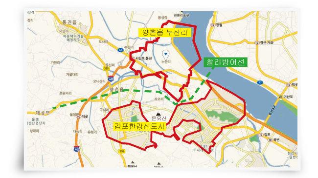 김포한강신도시는 운유산을 중심으로 좌우로 나뉜다. 북쪽에 양촌읍 누산리가 위치해 군사시설보호구역 해제에 따른 개발 가능성이 점쳐지고 있다. [네이버지도 캡처]