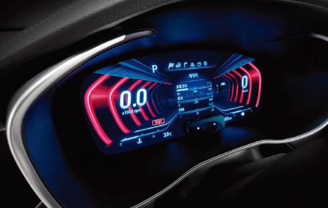 세계 최초로 제네시스 G70에 적용된 12.3인치 3D 클러스터(계기판)의 에지 테마. [사진 제공 · 현대자동차]