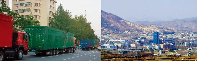 9월 6일 중국에서 북한으로 넘어가기 위해 북한 트레일러 10여 대가 길게 줄 지어 기다리고 있다(왼쪽). 경기 파주시 도라산전망대에서 바라본 개성공단 모습. [뉴시스, 뉴스1]