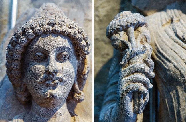 키나슈카 왕으로 추정되는 간다라 시대 석상(왼쪽)과 그 얼굴 및 왼손에 든 연꽃을 확대한 사진. [김도균]