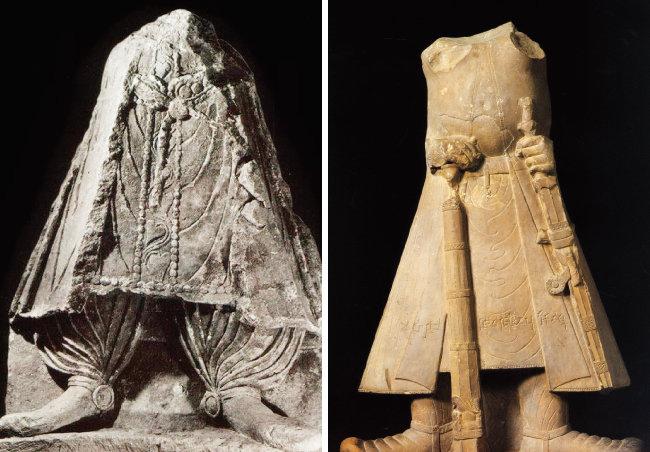 파키스탄 카불박물관(왼쪽)과 인도 마투라박물관 소장의 카니슈카 왕의 석상. 모두 얼굴이 남아 있지 않지만 특히 카불박물관 석상의 신발과 하의가 인터아트채널에서 전시 중인 석상과 유사하다. [사진 제공 · 강우방]