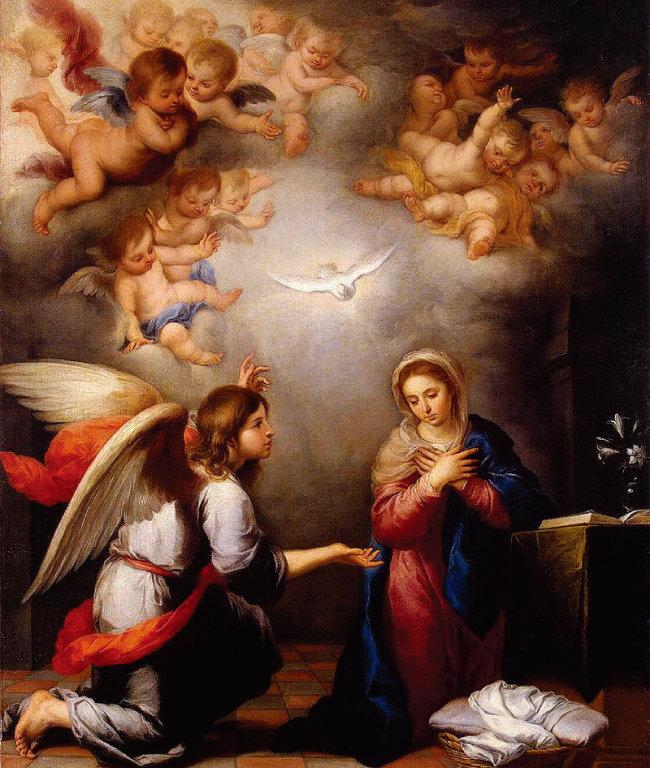 스페인 화가 무리요의 '수태고지(1655)'. 천사 가브리엘이 마리아에게 성령으로 예수를 잉태했음을 알리고 있다. [위키미디어]