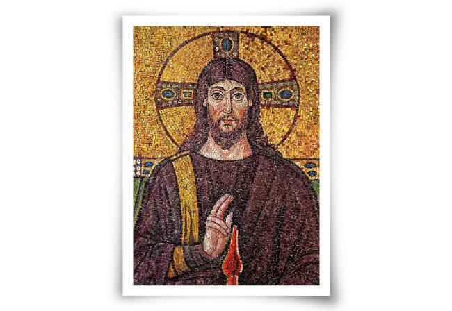 이탈리아 라벤나에 있는 산타폴리나레 누오보 성당(526년 완공)의 예수 모자이크화. 뒤의 광배가 얼음 결정에 태양광이 반사돼 생기는 환일(幻日) 현상으로 인한 광륜을 닮았다. 태양신의 광배다. [위키미디어]