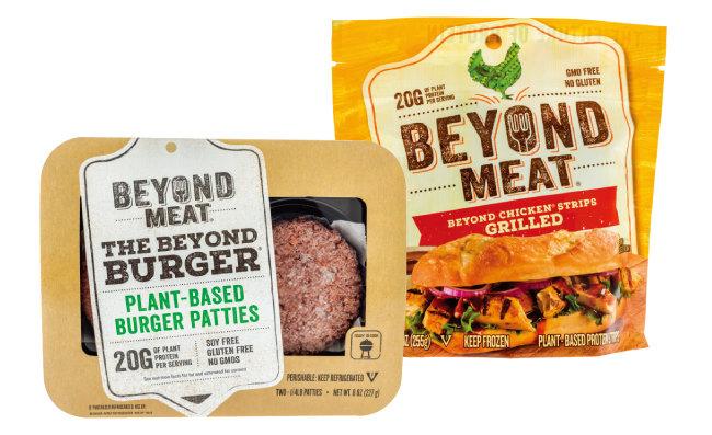 '대체고기' 스타트업 '비욘드 미트'의 버거 패티 '비욘드 버거'(왼쪽)와 닭고기맛 대용식품. [shutterstock]