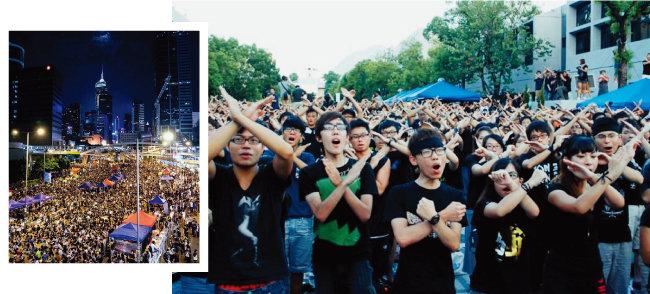 홍콩 주민과 학생들이 중국 정부의 통제를 반대하며 민주화 시위인 '우산혁명'을 벌이고 있다(왼쪽). 홍콩 대학생들이 중국 국가교육 수업에 반대하며 수강을 보이콧하고 있다. [위키피디아]