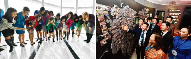 하나님의 교회 제73차 해외성도방문단이 롯데월드타워 서울스카이 전망대에 올라 서울 도심을 내려다보고 있다. 이들은 하나같이 한국의 발전상에 감탄을 금치 못했다(왼쪽). 하나님의 교회 역사관을 관람하고 있는 제73차 해외성도방문단.