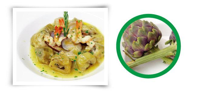 아티초크(원 안)와 오일, 해산물을 넣은 아티초크 요리. [사진 제공·김민경]