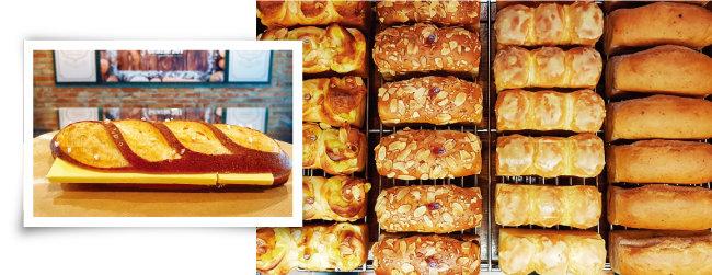 '그라찌에 207'의 단맛 짠맛이 조화로운 버터프레첼. (왼쪽) 다양한 식빵 라인. [사진 제공 · 김민경]