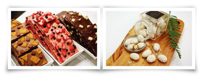 '감미로이'의 우도 땅콩, 딸기 블루베리, 오레오 바크초콜릿(왼쪽부터), 한입에 쏙 먹는 아망드. (오른쪽) [사진 제공 · 김민경]