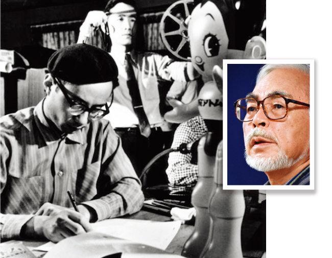 일본 최초의 TV 만화영화 '우주소년 아톰' 제작에 몰두하고 있는 데즈카 오사무(왼쪽)와 그런의 그를 비판적으로 극복하려 했기에 대성할 수 있었던 미야자키 하야오(오른쪽). [데즈카 오사무 공식 홈페이지, 뉴시스]