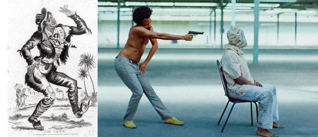 19세기 블랙페이스 유행을 불러온 흑인 캐릭터 짐 크로(왼쪽)와 'This is America' 뮤직비디오에서 그 몸짓을 흉내 내며 총질을 하고 있는 가수 차일디시 감비노. [위키피디아]