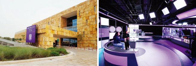 카타르 노스웨스턴대(NU-Q) 캠퍼스(왼쪽)와 NU-Q의 교육용 스튜디오. [이세형 동아일보 기자, 사진 제공 · NU-Q]