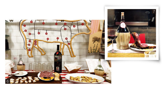 6 피렌체의 한 정육점 겸 레스토랑 1층에 마련된 각종 애피타이저. 7 티본스테이크와 키안티 와인. [사진 제공 · 김상미]