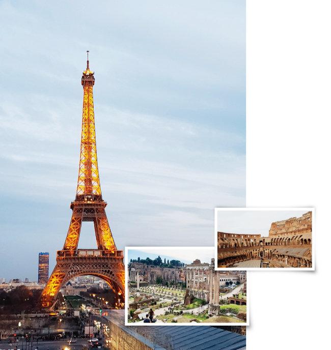 프랑스 파리 사요궁에서 바라본 에펠탑과 이탈리아 로마의 대표적 관광지 콜로세움 및 포로 로마노(왼쪽부터 시계 방향으로).
