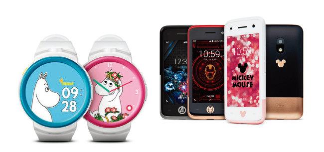 키즈폰은 스피커로 대화를 나눌 수 있는 손목시계형과 일반 스마트폰을 아이들 손 크기에 맞춘 미니폰형 두 종류로 나뉜다. 사진은 KT 무민키즈폰(왼쪽)과 SK텔레콤 제품들. [KT 홈페이지 캡처,  tworld 홈페이지 캡처]