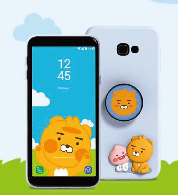 LG유플러스는 미니폰 '카카오 리틀프렌즈폰2'만 판매하는데 기본적으로 카카오프렌즈 캐릭터를 활용한 디자인이 깔려 있다. [LG 유플러스 홈페이지 캡처]