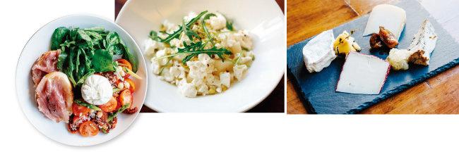 부라타 치즈와 프로슈토를 함께 즐기는 샐러드, 얼린 염소 치즈와 배, 피스타치오, '치즈플로'에서 만든 치즈와 잼 플래터. (왼쪽부터) [사진 제공·치즈플로]