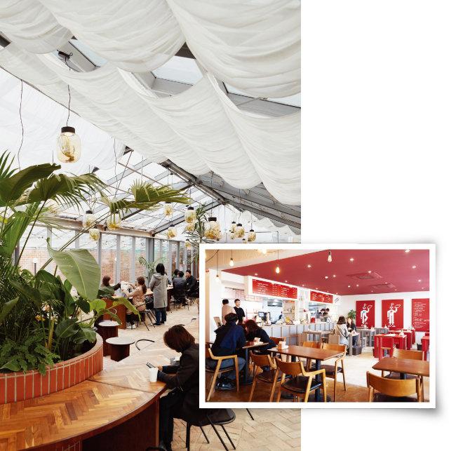 성수연방 3층 카페 '천상가옥'(왼쪽)과 1층 피자집 '피자시즌'. [홍중식 기자]