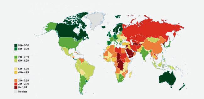 이코노미스트 인텔리전스 유닛(EIU)이 발표하는 민주주의지수에 입각한 세계지도 [EIU]