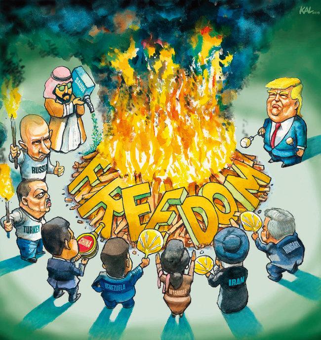 프리덤하우스의 2019년 세계자유보고서 표지. '자유(FREEDOM)'를 불태우는 권위주의적 지도자로 트럼프 미국 대통령, 푸틴 러시아 대통령과 함께 오르반 헝가리 총리(오른쪽 맨 아래)도 보인다. [프리덤하우스]