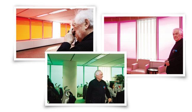 3월 19일 다니엘 뷔렌이 서울 종로구 동아미디어센터 각 층을 돌며 자신의 작품 '한국의 색, 인 시튀 작업'을 둘러보고 있다. [홍중식 기자]